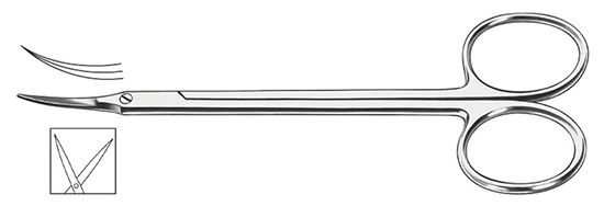 Tijera aguda curva 11,5cm.