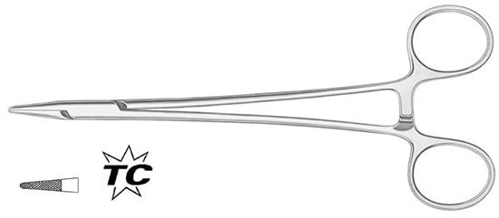 Porta-agujas Crile-Wood 15cm, 2mm TC (2/0,4/0)