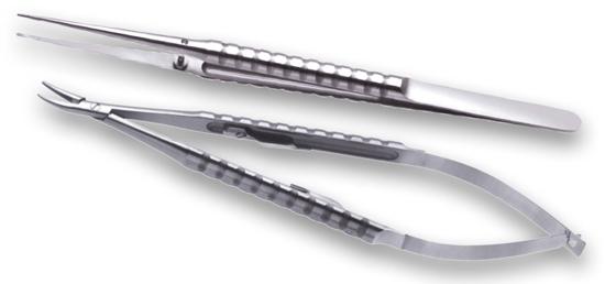 1 Micro-pinza Cooley + 1 Porta-agujas Castroviejo curvo